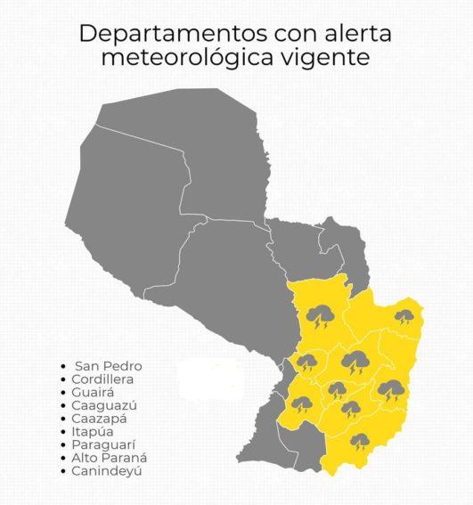 Meteorología emite alerta de tormentas para 9 departamentos